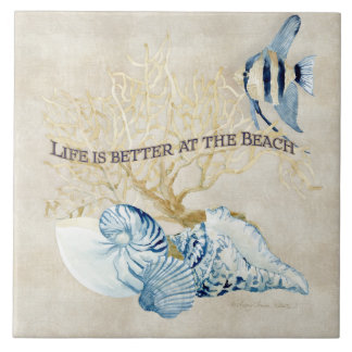 Indigo Ocean Life is Better at the Beach Shells Ceramic Tiles