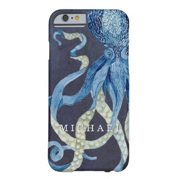 AudreyJeanne Indigo Ocean Octopus w Red Coral Watercolor Art Barely There iPhone 6 Case