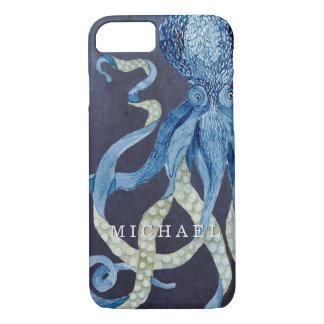 Indigo Ocean Octopus w Red Coral Watercolor Art iPhone 7 Case
