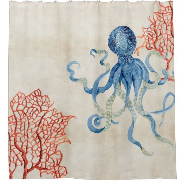 Beach Themed Indigo Ocean Parchment Red Fan Coral Blue Octopus Shower Curtain
