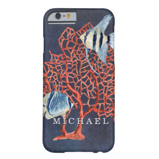 Indigo Ocean Tropical Fish w Red Coral Watercolor Barely There iPhone 6 Case