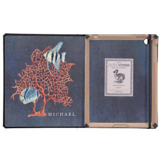 Indigo Ocean Tropical Fish w Red Coral Watercolor iPad Folio Case
