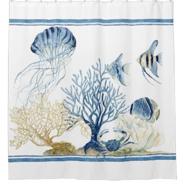 AudreyJeanne Indigo Ocean Underwater Sea Life Coral Angelfish Shower Curtain