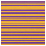 [ Thumbnail: Indigo & Orange Colored Lines/Stripes Pattern Fabric ]