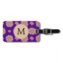 Indigo Purple and Coral Flowers Bag Tag