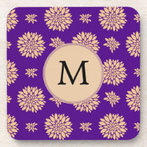 Indigo Purple and Coral Flowers Beverage Coaster