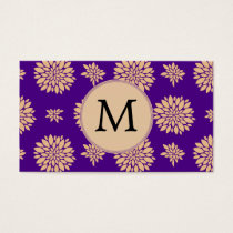 Indigo Purple and Coral Flowers Business Card