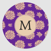 Indigo Purple and Coral Flowers Classic Round Sticker