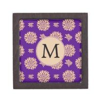 Indigo Purple and Coral Flowers Keepsake Box