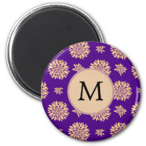 Indigo Purple and Coral Flowers Magnet