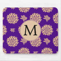 Indigo Purple and Coral Flowers Mouse Pad