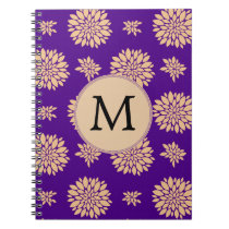 Indigo Purple and Coral Flowers Notebook
