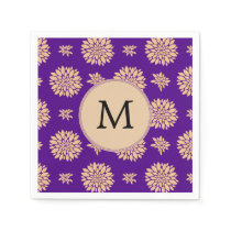Indigo Purple and Coral Flowers Paper Napkin