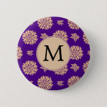 Indigo Purple and Coral Flowers Pinback Button