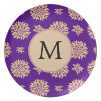 Indigo Purple and Coral Flowers Plate