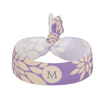 Indigo Purple and Coral Flowers Ribbon Hair Tie