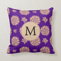 Indigo Purple and Coral Flowers Throw Pillow