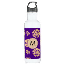 Indigo Purple and Coral Flowers Water Bottle