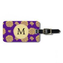 Indigo Purple and Yellow Monogram Bag Tag