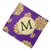 Indigo Purple and Yellow Monogram Bandana