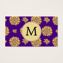 Indigo Purple and Yellow Monogram Business Card