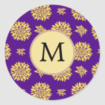Indigo Purple and Yellow Monogram Classic Round Sticker