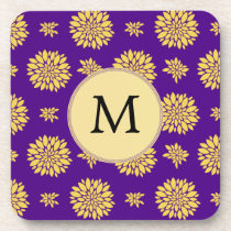 Indigo Purple and Yellow Monogram Drink Coaster