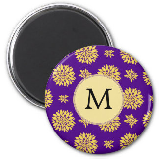 Indigo Purple and Yellow Monogram Magnet