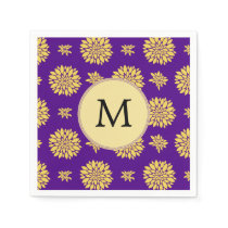 Indigo Purple and Yellow Monogram Napkin