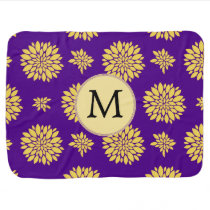 Indigo Purple and Yellow Monogram Receiving Blanket