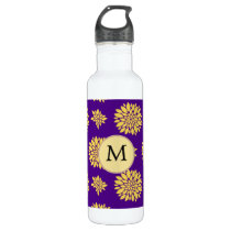 Indigo Purple and Yellow Monogram Stainless Steel Water Bottle