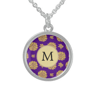 Indigo Purple and Yellow Monogram Sterling Silver Necklace