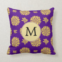 Indigo Purple and Yellow Monogram Throw Pillow