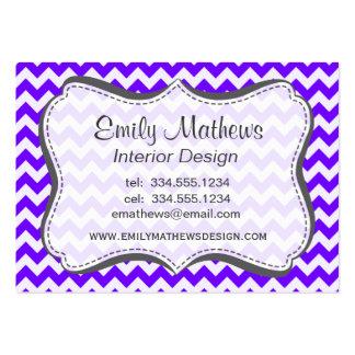 Indigo, Purple, Chevron Stripes Business Card Template