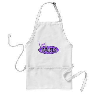 Indigo, Purple Damask; Paris; Eiffel Tower Adult Apron