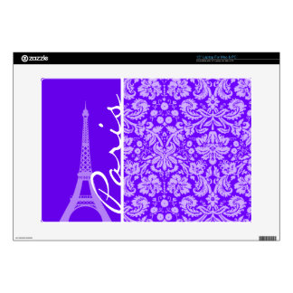 "Indigo, Purple Damask; Paris; Eiffel Tower Skins For 15"" Laptops"
