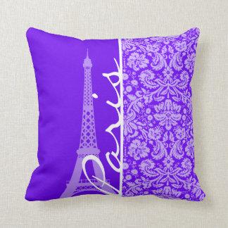 Indigo, Purple Damask; Paris; Eiffel Tower Throw Pillow
