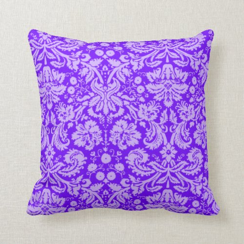 Purple Damask Throw Pillow