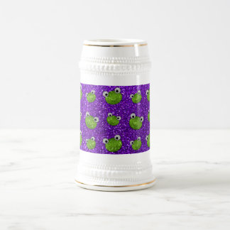 Indigo purple frog head glitter pattern 18 oz beer stein