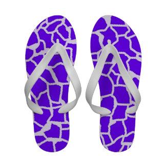 Indigo, Purple Giraffe Animal Print Flip Flops