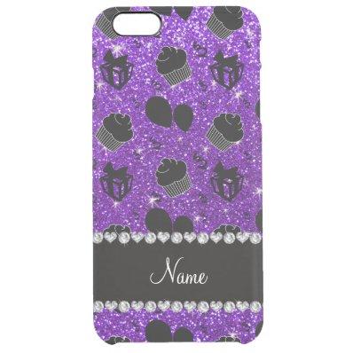 Indigo purple glitter cupcakes balloons presents clear iPhone 6 plus case