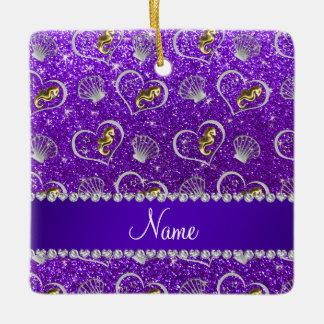 Indigo purple glitter gold seahorses silver shells ceramic ornament
