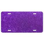 Indigo purple glitter license plate