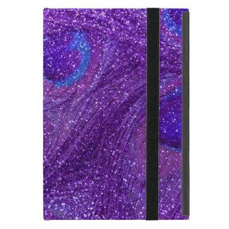 indigo purple glitter peacock feathers iPad mini cover