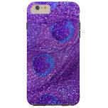 indigo purple glitter peacock feathers tough iPhone 6 plus case