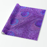 indigo purple glitter peacock feathers gift wrapping paper