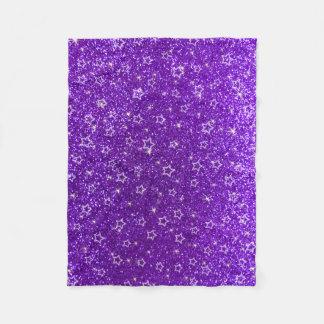 Indigo purple glitter stars fleece blanket