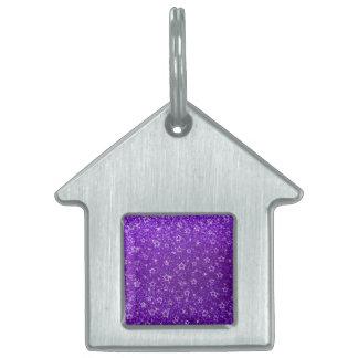 Indigo purple glitter stars pet name tag