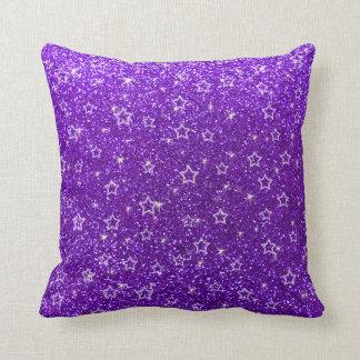 Indigo purple glitter stars pillow