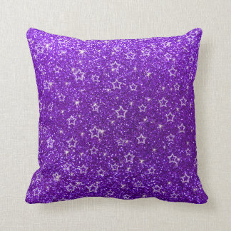 Indigo purple glitter stars throw pillow